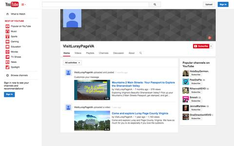 Screenshot of YouTube Page youtube.com - VisitLurayPageVA  - YouTube - captured Oct. 23, 2014