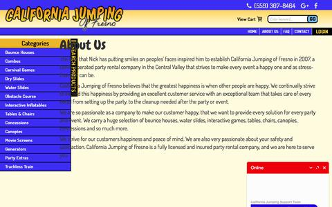 Screenshot of About Page californiajumping.com - Bounce House Rentals - California Jumping of Fresno, Bounce House Rentals Fresno, Clovis, Fowler, Sanger, Party Rentals, Moonwalk, jump house, jumper, moonbounce, inflatables, Fresno, Fowler, Clovis, Sanger, Madera, Waterslides, Fresno, Fun, Jumpers. - captured Sept. 26, 2018