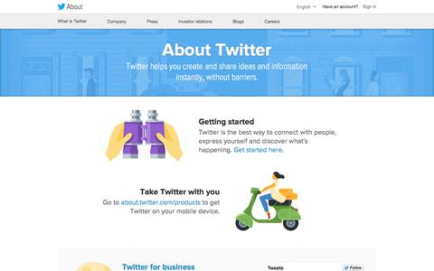 Screenshot of About Page Twitter Page twitter.com - About Twitter - captured Oct. 11, 2014