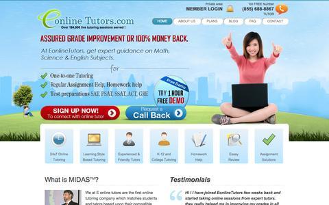 Screenshot of Home Page eonlinetutors.com - Online Tutors   Online Tutoring   Free Online Tutoring   Unlimited Online Tutoring - Eonlinetutors.com - captured Jan. 21, 2015