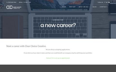 Screenshot of Jobs Page clearchoicecreative.com - Careers - captured July 18, 2018