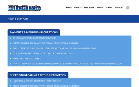 Screenshot of Support Page ilikecheats.net - iLikecheats Support Stuffs - Your Questions Our Solutions - captured March 1, 2016