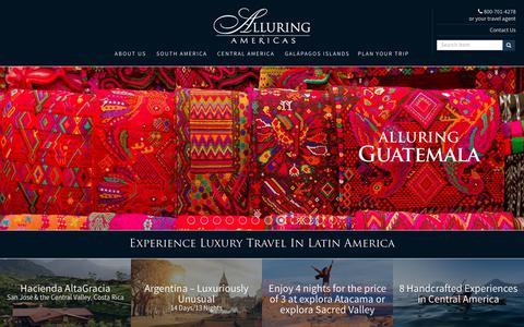 Screenshot of Home Page alluringamericas.com - Luxury Tours & Experiences   Latin America Luxury Travel Company - captured Nov. 6, 2018
