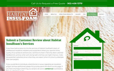 Screenshot of Testimonials Page habitatinsulfoam.ca - Customer Review | Testimonials | Habitat Insulfoam - captured July 15, 2018
