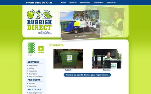 Screenshot of Products Page rubbishdirect.co.nz - Rubbish & recycling bins for waste management in Auckland - Rubbish Direct - captured Oct. 7, 2014