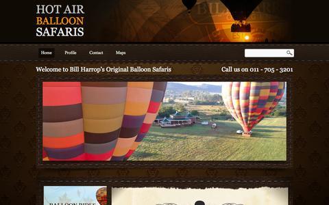 "Screenshot of Home Page balloon.co.za - HOT AIR BALLOON SAFARIS | Bill Harrop's ""Original"" Balloon Safaris - captured Oct. 5, 2014"