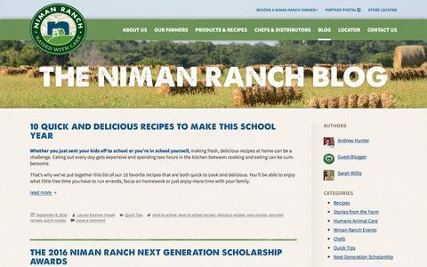 Screenshot of Blog nimanranch.com - The Niman Ranch Blog: Farm Stories, Restaurant Guides, and more! - captured Sept. 28, 2016