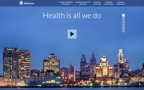 Screenshot of Home Page jefferson.edu - Welcome to Jefferson | Health is all we do. - captured Oct. 12, 2014
