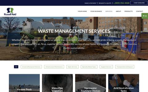Screenshot of Services Page russellreid.com - Waste Management Services – Russell Reid - captured Oct. 25, 2017