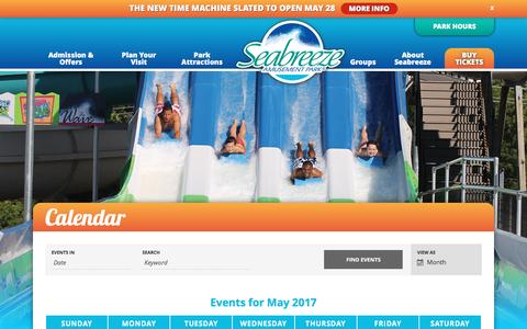 Screenshot of Hours Page seabreeze.com - Events for May 2017 | Seabreeze - captured May 28, 2017