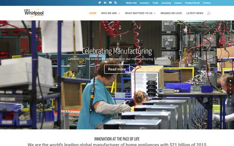 Screenshot of Home Page whirlpoolcorp.com - Whirlpool Corporation | Where Moments Matter - captured Feb. 16, 2016