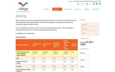 Screenshot of Pricing Page villageaustralia.com.au - Pricing - Village Coworking North Sydney | Village Coworking North Sydney - captured Nov. 5, 2014