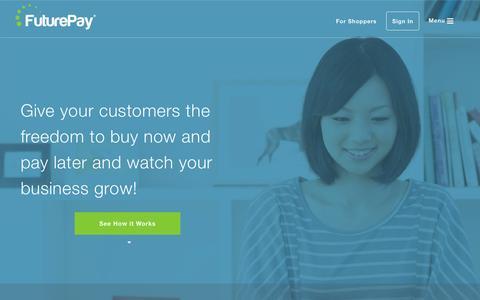 Screenshot of Home Page futurepay.com - Home - FuturePay - captured Nov. 10, 2015