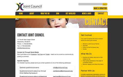 Screenshot of Contact Page jointcouncil.org - Contact | Joint Council - captured Oct. 6, 2014