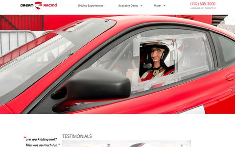 Screenshot of Testimonials Page dreamracing.com - Dream Racing | Testimonials- Dream Racing - captured Sept. 30, 2014
