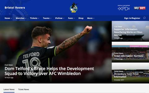 Screenshot of Home Page bristolrovers.co.uk - Bristol Rovers - captured Oct. 11, 2017