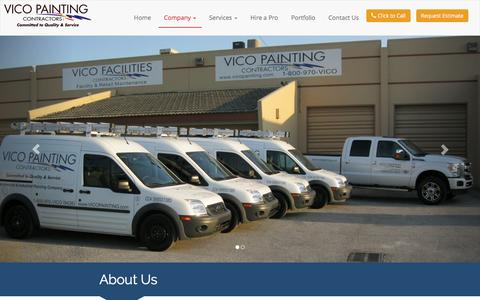 Screenshot of About Page vicopainting.com - Miami Commercial & Industrial Painting Company - Vico Painting Contractors South Florida Painting Professionals - captured Feb. 23, 2016