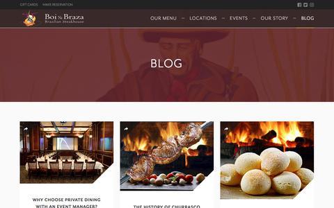 Screenshot of Blog boinabraza.com - Brazilian Cuisine and Fine Dining Blog | Boi Na Braza - captured Aug. 3, 2018