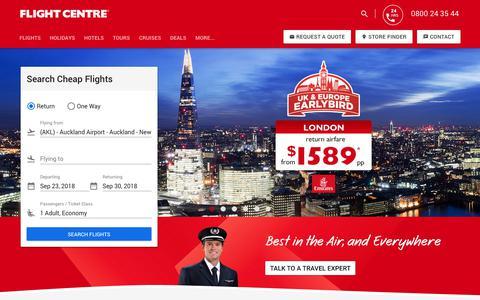 Screenshot of Home Page flightcentre.co.nz - Cheap Flights, Holidays and Travel Deal | Flight Centre NZ - captured Sept. 23, 2018