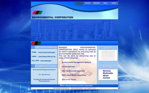 Screenshot of Home Page bowdenenv.com - Home - captured Feb. 8, 2016
