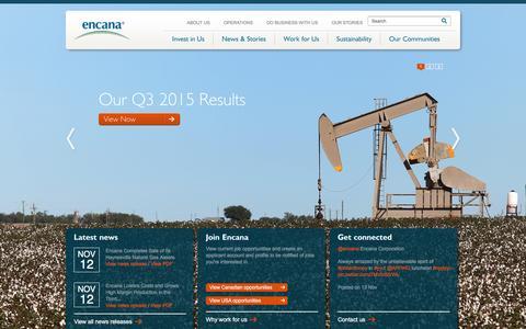 Screenshot of Home Page encana.com - Encana Corporation - captured Dec. 1, 2015