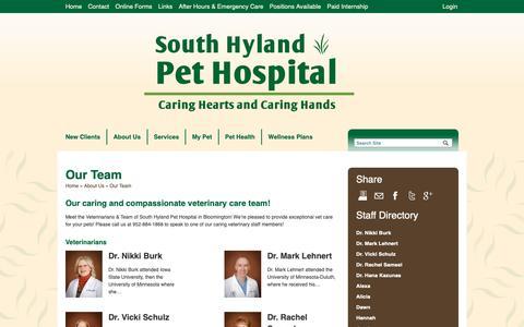 Screenshot of Team Page southhyland.com - Veterinarians & Team in Bloomington   Veterinarians Bloomington, Minnesota   South Hyland Pet Hospital - captured Oct. 18, 2018