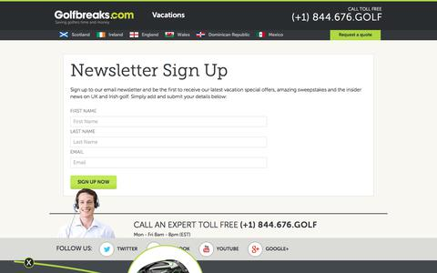 Screenshot of Signup Page golfbreaks.com captured Aug. 20, 2017