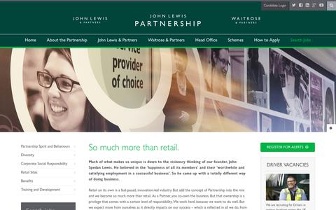 Screenshot of About Page jlpjobs.com - About the John Lewis Partnership - JLPJobs.com - captured Sept. 27, 2018