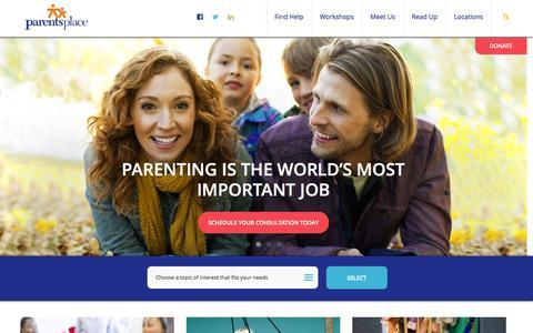 Screenshot of Home Page parentsplaceonline.org - Parents Place - captured Jan. 23, 2015