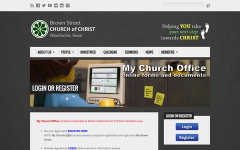Screenshot of Login Page cocbrownstreet.org - Login or Register - Brown Street Church of Christ - captured Oct. 5, 2014