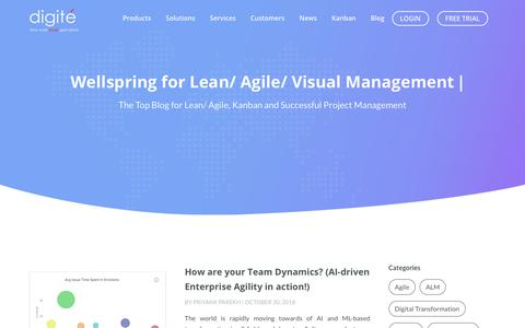 Screenshot of Blog digite.com - The #1 Blog on Kanban Agile and Project Management - Digité - captured Nov. 17, 2018