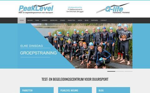 Screenshot of Home Page peaklevel.be - Peaklevel Home - Peaklevel - captured July 19, 2015