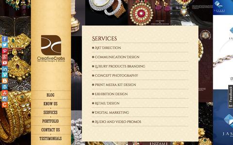 Screenshot of Services Page creativecrabs.com - Creative Branding Agency | Creative Services Agency | Creative Crabs - captured Oct. 3, 2014