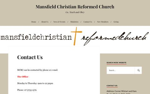 Screenshot of Contact Page wordpress.com - Contact Us – Mansfield Christian Reformed Church - captured July 2, 2018