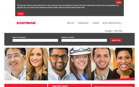 Screenshot of Jobs Page eastman.com - Eastman - The results of insight - captured Sept. 21, 2018