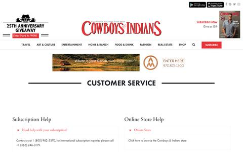 Screenshot of Support Page cowboysindians.com - Customer Service – Cowboys and Indians Magazine - captured Sept. 29, 2018