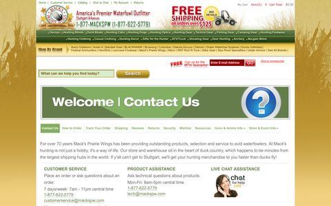 Screenshot of Support Page mackspw.com - Customer Service at Mack's Prairie Wings - captured Nov. 1, 2014