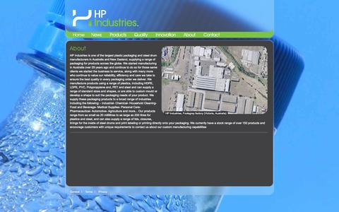 Screenshot of About Page hpindustries.com.au - About | HP Industries - captured Oct. 1, 2014