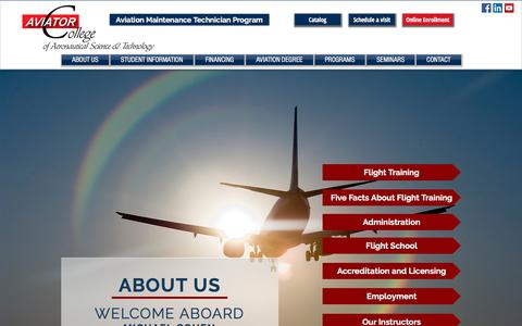 Screenshot of About Page aviator.edu - Aviation Degree.Aviator College of Aeronautical Science and Technology - captured Oct. 9, 2017