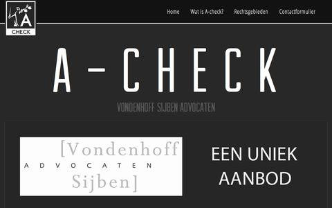 Screenshot of Home Page a-check.nl - A-check Vondenhoff Sijben Advocaten - captured Sept. 4, 2015