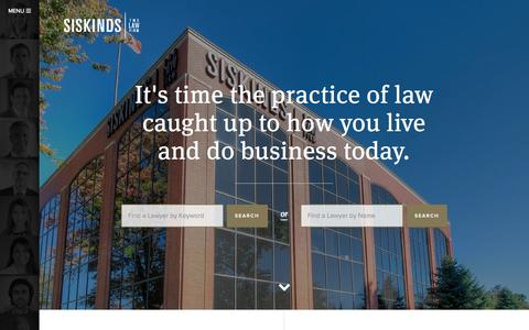 Screenshot of Home Page siskinds.com - Siskinds Law Firm - Lawyers In Toronto, Montreal, London - captured Sept. 1, 2015