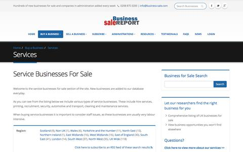 Screenshot of Services Page business-sale.com - Service Businesses For Sale. Buy a Service Company - captured Oct. 11, 2017
