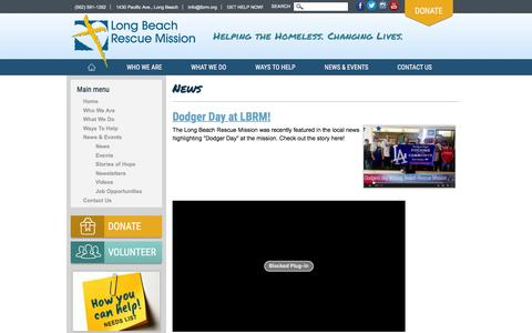 Screenshot of Press Page lbrm.org - News | Long Beach Rescue Mission - captured Feb. 1, 2016