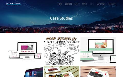 Screenshot of Case Studies Page catalyst.co.at - Case Studies | Catalyst | Social, Science & Sustainability Communications - captured June 27, 2016