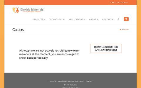 Screenshot of Jobs Page dioxidematerials.com - Careers - Dioxide Materials - captured Aug. 7, 2018