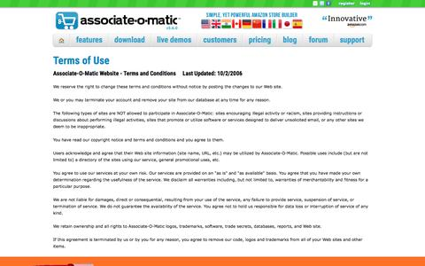 Screenshot of Terms Page associate-o-matic.com - Associate-O-Matic | Terms of Use - captured July 31, 2018