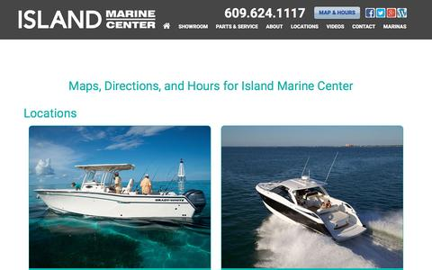 Screenshot of Locations Page imboats.com - Maps, Directions, and Hours for Island Marine Center near Sea Isle City, New Jersey, Ocean City, Somers Point, Avalon, Stone Harbor, & Cape May, NJ | Island Marine Center Dealership - captured Nov. 26, 2016