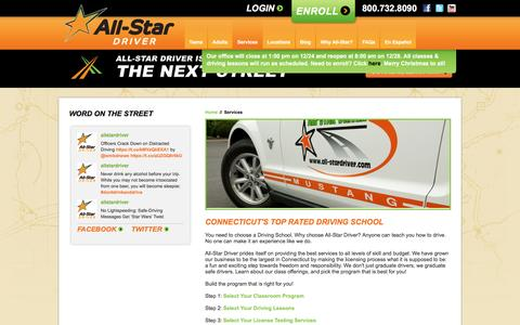 Screenshot of Services Page all-stardriver.com - Driving Lessons in CT | All-Star Driver Education Classes - captured Dec. 24, 2015