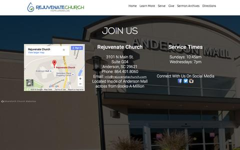 Screenshot of Maps & Directions Page rejuvenatechurch.com - Directions «  Rejuvenate Church – Anderson, SC - captured Feb. 24, 2016