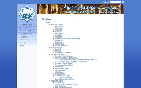 Screenshot of Site Map Page bdavid.org - Beth David: Site Map - captured Oct. 5, 2014